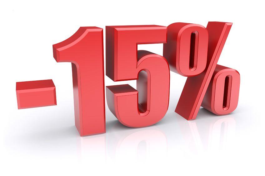 Скидка 15% на всю сумму договора при внесении 100% оплаты
