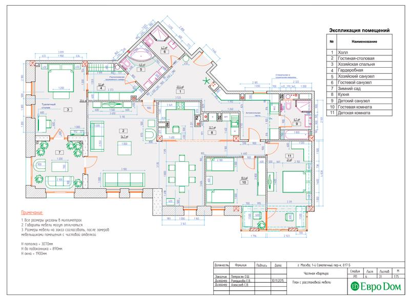 Дизайн 4-комнатной квартиры в стиле классицизм. Фото 034