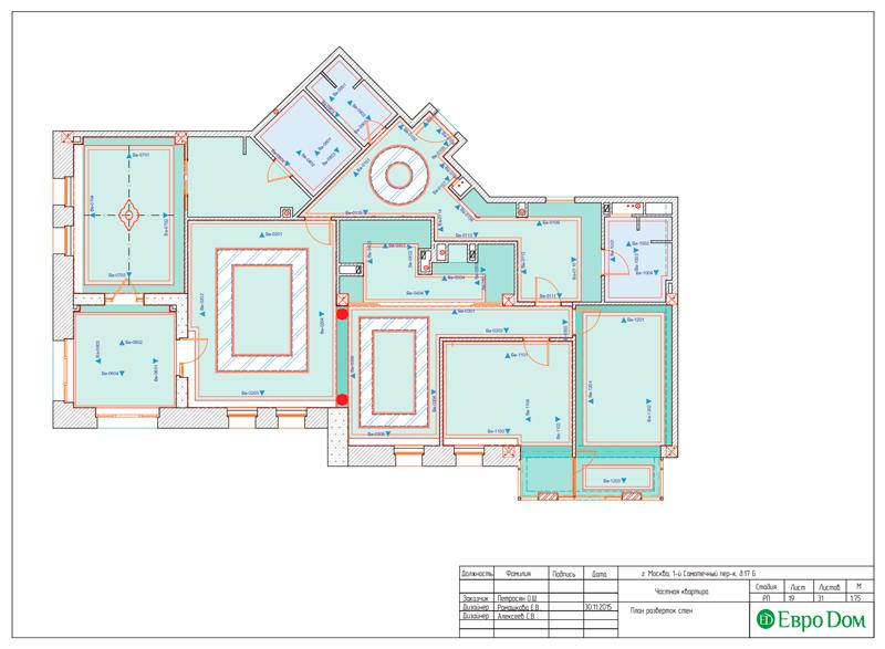 Дизайн 4-комнатной квартиры в стиле классицизм. Фото 047