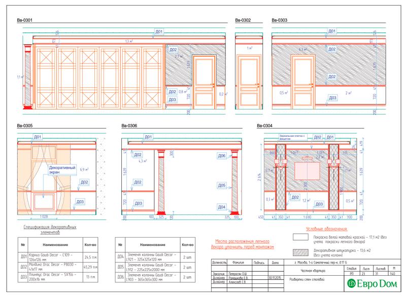 Дизайн 4-комнатной квартиры в стиле классицизм. Фото 051