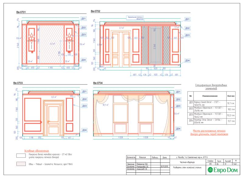 Дизайн 4-комнатной квартиры в стиле классицизм. Фото 054