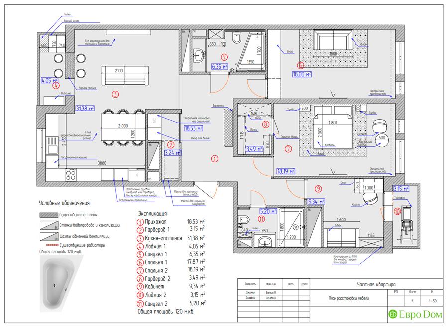 Дизайн 4-комнатной квартиры (120 кв. м) в стиле лофт. Фото 017