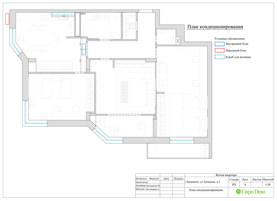 Дизайн интерьера 4-комнатной квартиры в стиле неоклассика. Фото 032