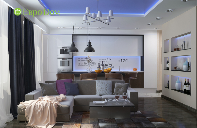 Дизайн 2-комнатной квартиры в классическом стиле. Фото 02