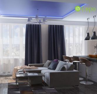 Дизайн двухкомнатной квартиры 59 кв. м в классическом стиле. Фото проекта