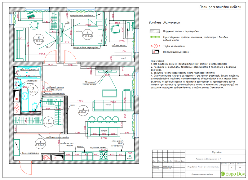 Дизайн 2-комнатной квартиры в классическом стиле. Фото 020