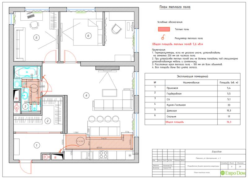 Дизайн 2-комнатной квартиры в классическом стиле. Фото 024