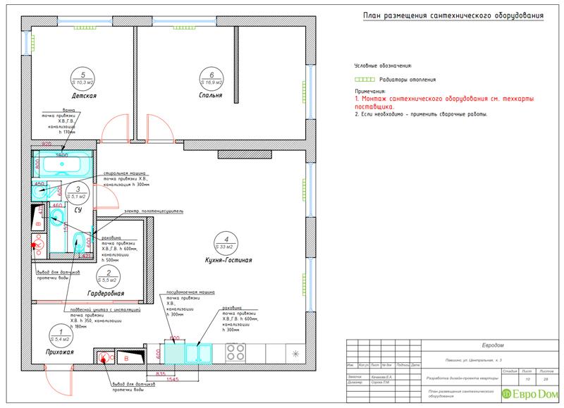 Дизайн 2-комнатной квартиры в классическом стиле. Фото 026
