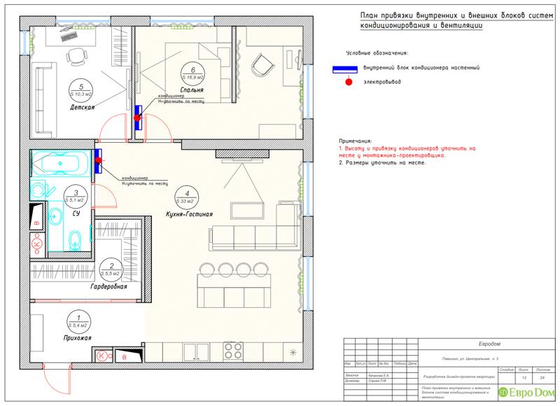 Дизайн 2-комнатной квартиры в классическом стиле. Фото 028