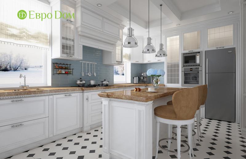 Большая белая кухня с традиционным дизайном 2019 года