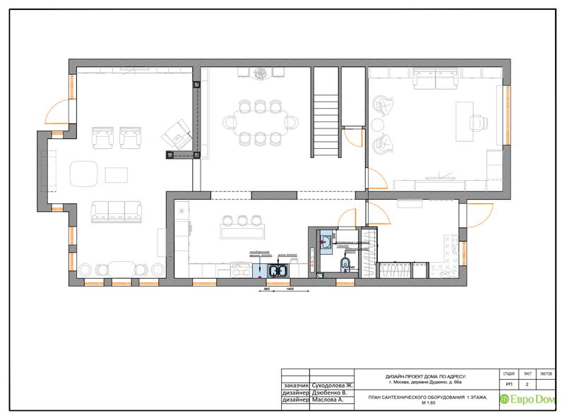 Дизайн интерьера коттеджа 393 кв. м в английском стиле. Фото 053