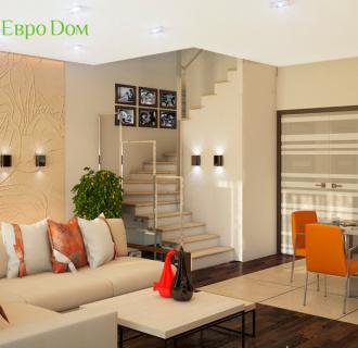 Дизайн интерьера коттеджа 210 кв. м в современном стиле. Фото проекта