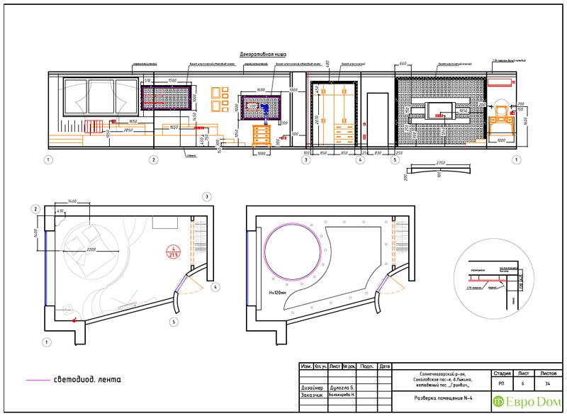Дизайн интерьера коттеджа 240 кв. м в стиле модерн. Фото 071