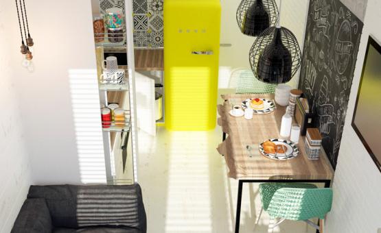 Дизайн интерьера 1-комнатной квартиры 36 кв.м. по адресу г. Москва, Варшавское шоссе, д. 50. Фото 2
