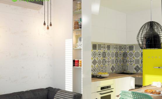 Дизайн интерьера 1-комнатной квартиры 36 кв.м. по адресу г. Москва, Варшавское шоссе, д. 50. Фото 3
