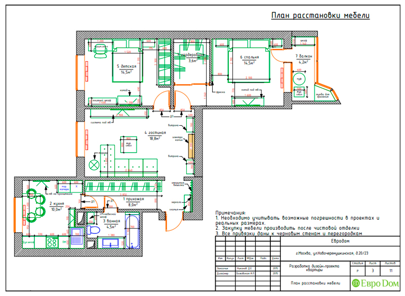 Дизайн трехкомнатной квартиры 79 кв. м в английском стиле. Фото 025