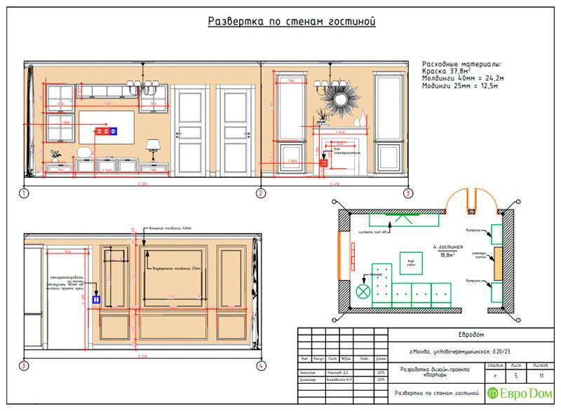 Дизайн трехкомнатной квартиры 79 кв. м в английском стиле. Фото 027