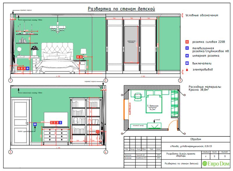 Дизайн трехкомнатной квартиры 79 кв. м в английском стиле. Фото 031
