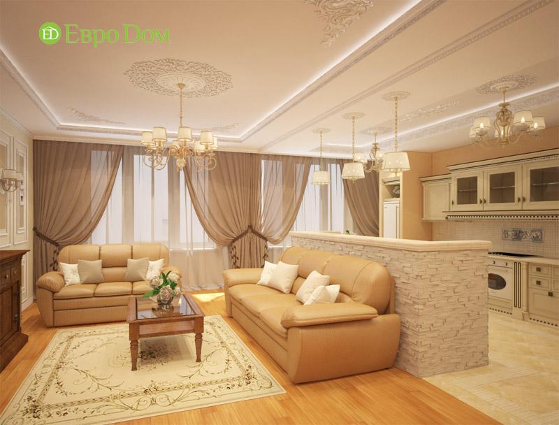 На фото: дизайн трехкомнатной квартиры в пастельных тонах