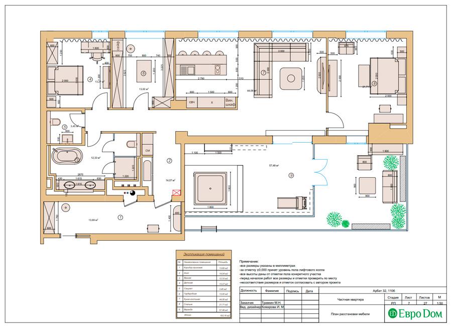 Дизайн 3-комнатной квартиры 193 кв. м в современном стиле. Фото 030