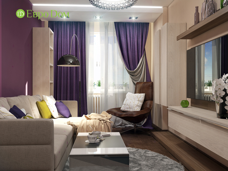 Дизайн трехкомнатной квартиры 67 кв. м в современном стиле. Фото 03