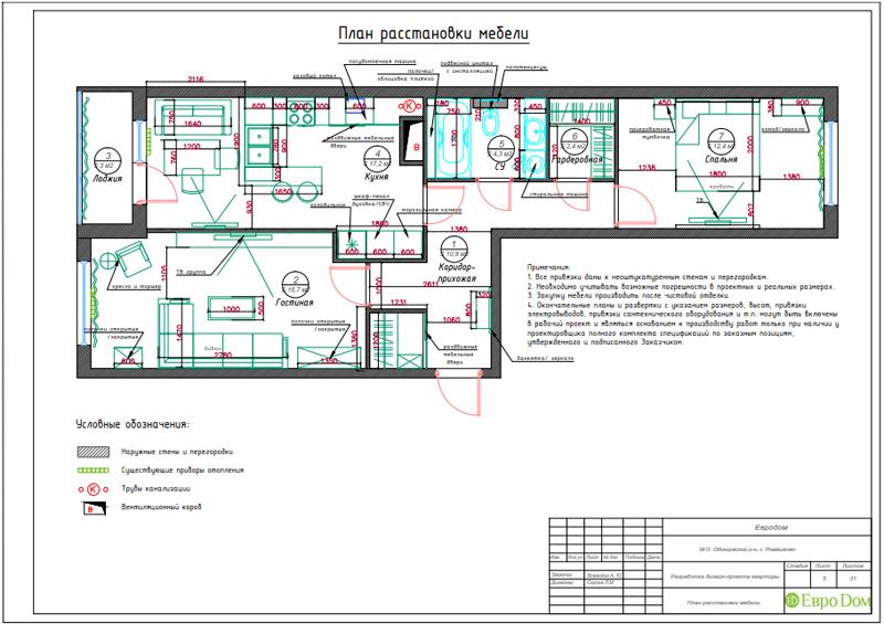 Дизайн трехкомнатной квартиры 67 кв. м в современном стиле. Фото 027