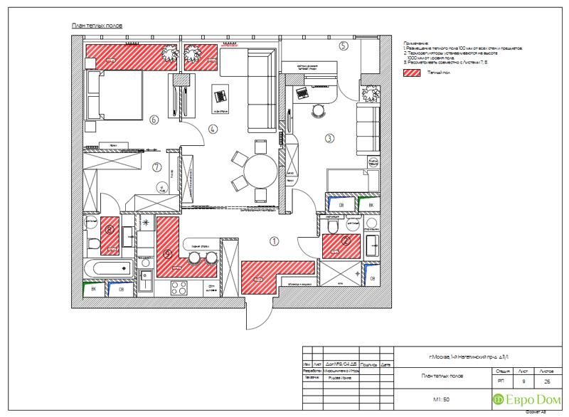 Дизайн трехкомнатной квартиры 87 кв. м в современном стиле. Фото 025