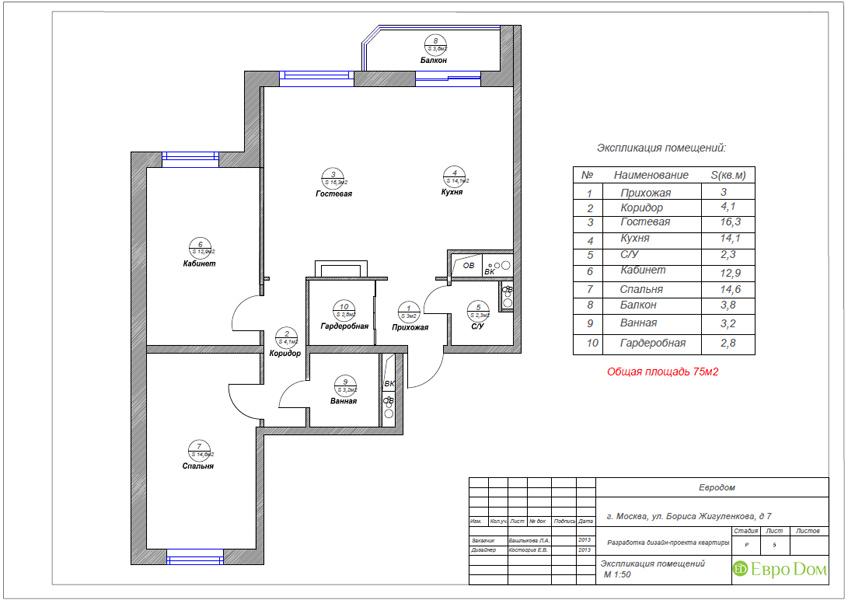 Дизайн трёхкомнатной квартиры 75 кв. м в стиле неоклассика. Фото 024