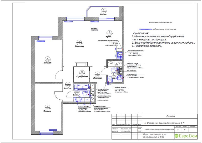 Дизайн трёхкомнатной квартиры 75 кв. м в стиле неоклассика. Фото 029