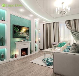 Дизайн трехкомнатной квартиры 76 кв. м в стиле тиффани. Фото проекта