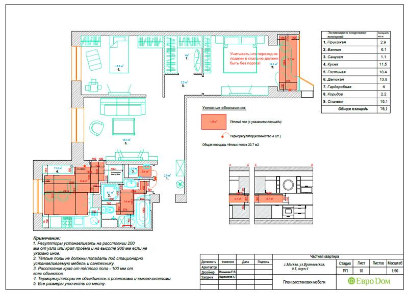 Дизайн 3-комнатной квартиры 76 кв. м в стиле тиффани. Фото 045
