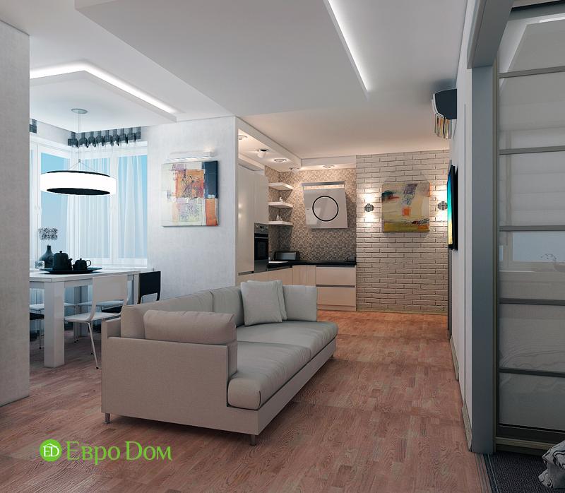 Дизайн двухкомнатной квартиры 52 кв. м в стиле лофт. Фото 02