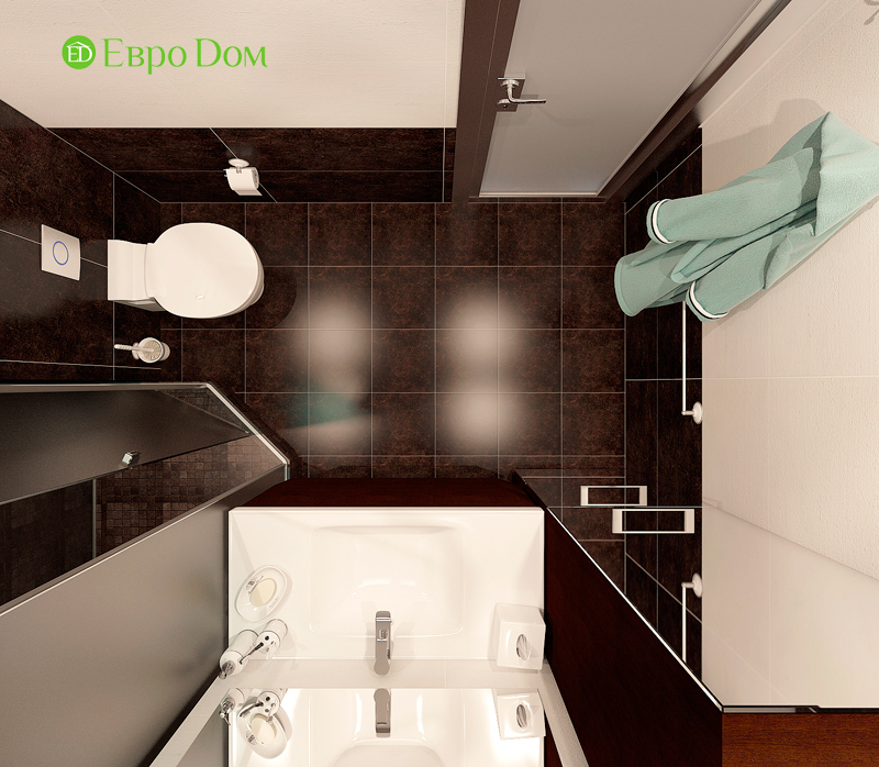 Дизайн двухкомнатной квартиры 52 кв. м в стиле лофт. Фото 017