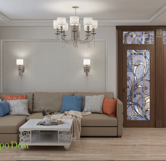 Дизайн четырехкомнатной квартиры 74 кв. м в классическом стиле. Фото проекта