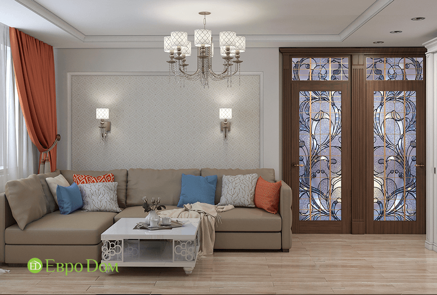 Дизайн четырехкомнатной квартиры 74 кв. м в классическом стиле. Фото 02