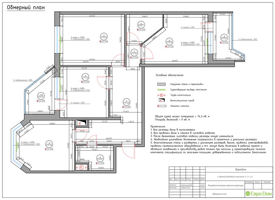 Дизайн четырехкомнатной квартиры 74 кв. м в классическом стиле. Фото 030
