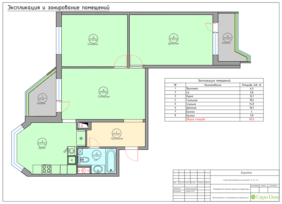 Дизайн четырехкомнатной квартиры 74 кв. м в классическом стиле. Фото 033