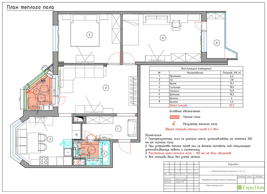 Дизайн четырехкомнатной квартиры 74 кв. м в классическом стиле. Фото 038