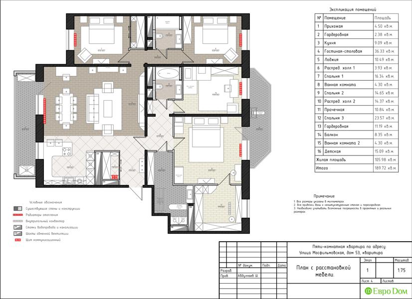 Дизайн 4-комнатной квартиры 192 кв. м в стиле классицизм. Фото 034