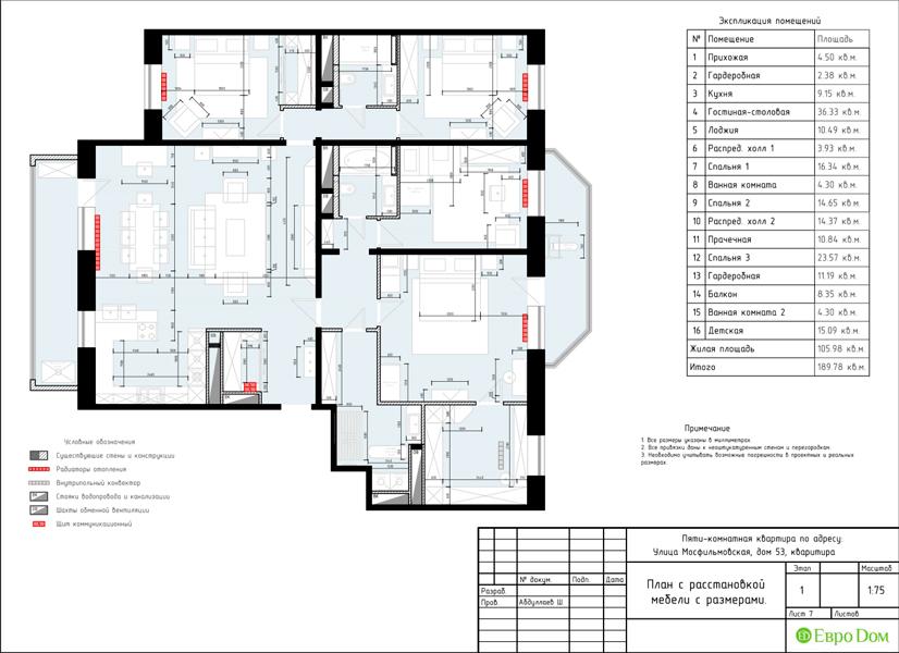 Дизайн 4-комнатной квартиры 192 кв. м в стиле классицизм. Фото 037