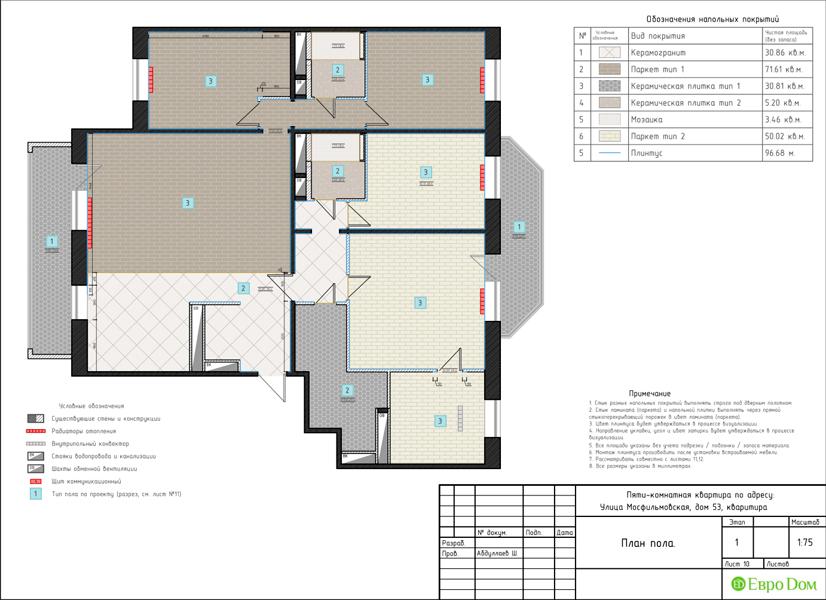 Дизайн 4-комнатной квартиры 192 кв. м в стиле классицизм. Фото 039