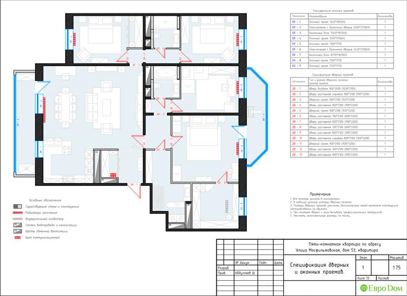 Дизайн 4-комнатной квартиры 192 кв. м в стиле классицизм. Фото 042
