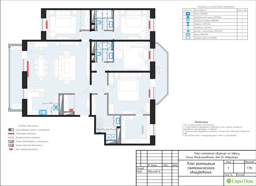 Дизайн 4-комнатной квартиры 192 кв. м в стиле классицизм. Фото 043
