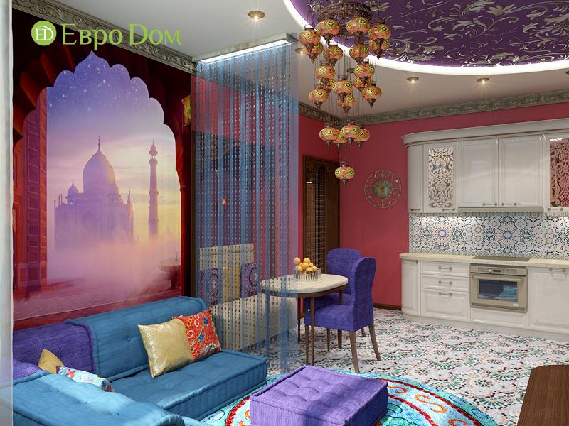 Дизайн 2-комнатной квартиры 65 кв. м в индийском стиле. Фото 02