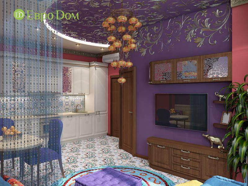 Дизайн 2-комнатной квартиры 65 кв. м в индийском стиле. Фото 03
