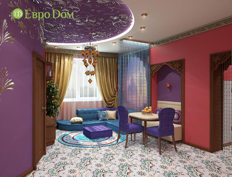 Дизайн 2-комнатной квартиры 65 кв. м в индийском стиле. Фото 04