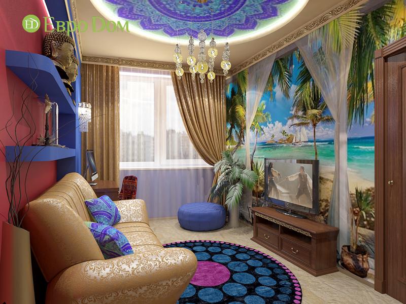 Дизайн 2-комнатной квартиры 65 кв. м в индийском стиле. Фото 05