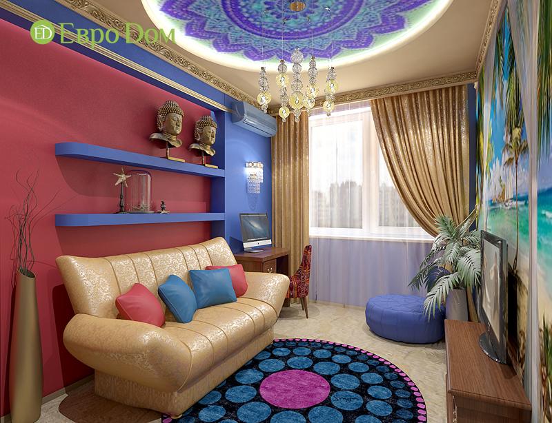 Дизайн 2-комнатной квартиры 65 кв. м в индийском стиле. Фото 06