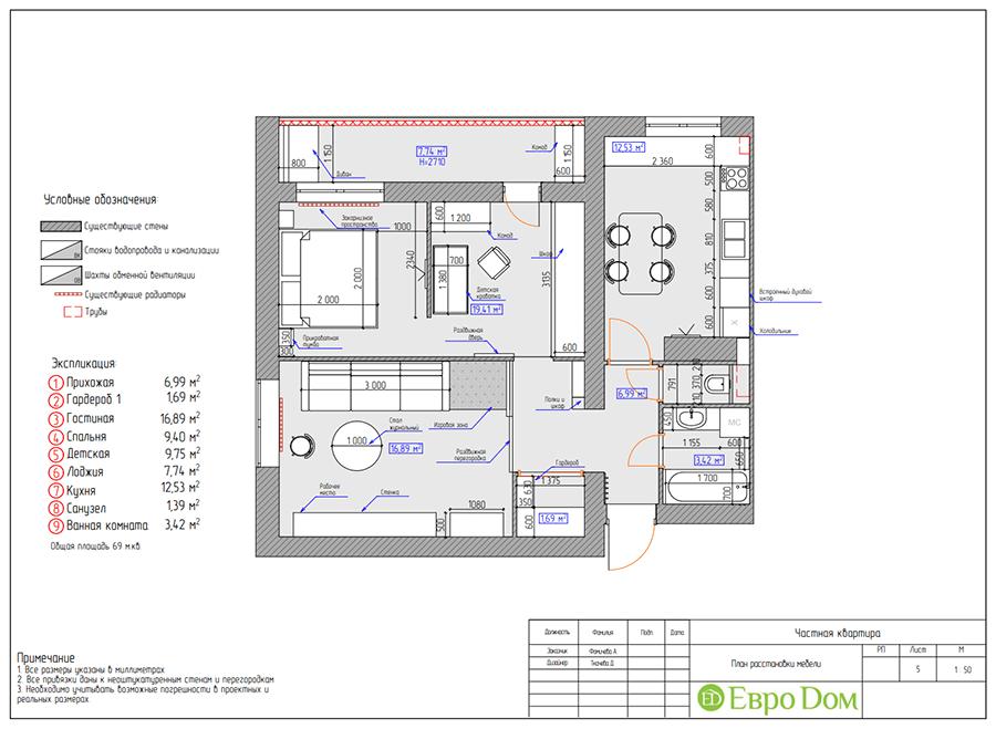Дизайн двухкомнатной квартиры 70 кв. м в скандинавском стиле. Фото 019