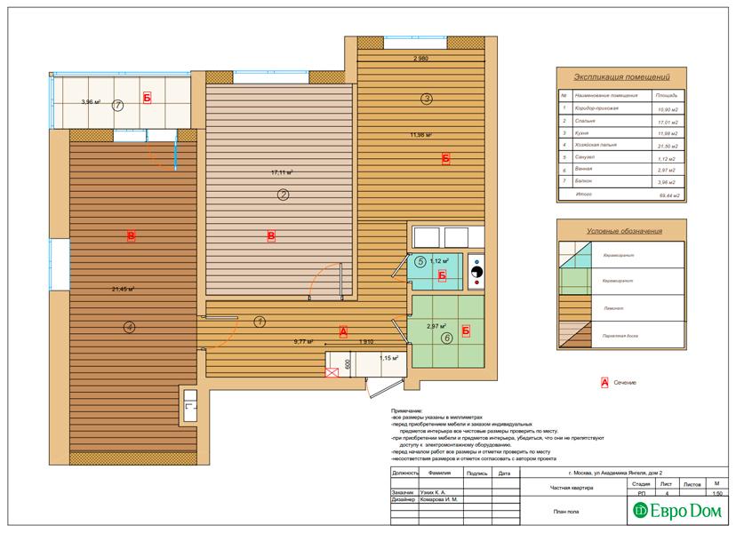 Дизайн двухкомнатной квартиры 68 кв. м в современном стиле. Фото 025